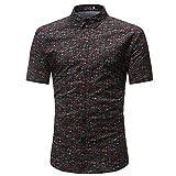 Men Shirt Floral Print Short Sleeve Dress Shirt Flower Print Shirt Blouse Tops by Lowprofile