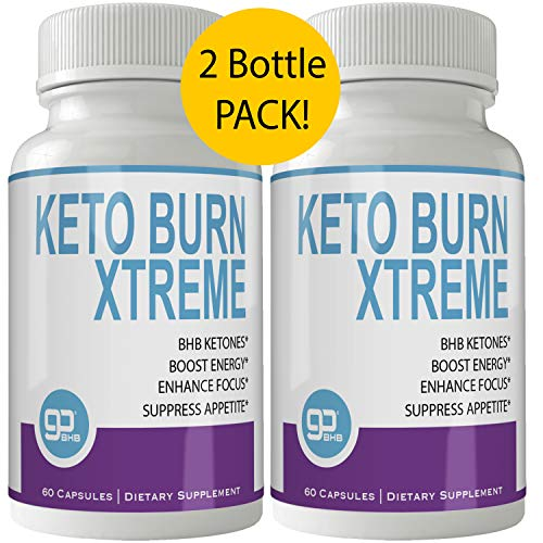 Keto Burn Xtreme Weight Loss Pills 2 Bottle Pack for 60 Days, Extreme Natural Ketogenic Burn Fat Supplement, 800 mg Formula with New GO BHB Salts Formula, Advanced Appetite Suppressant Capsules