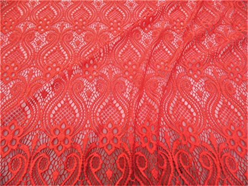 - Swatch Sample Discount Fabric Stretch Mesh Lace Coral Red Embroidered Fleuron Bulb Sheer D403