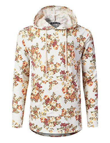 URBANCREWS Mens Hipster Hip Hop Floral Heathered French Terry Hoodie Ivory, 3XL by URBANCREWS
