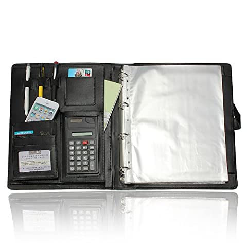 Black Leather Executive Business Conference Folder - 810 Series Notebooks