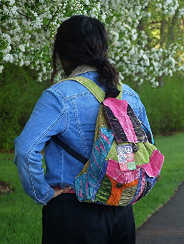 Recycled Hippe Hobo Bohemian Razor Cut Bag Backpack Hand Made Nepal (Backpack 2) by Lungta Imports (Image #5)