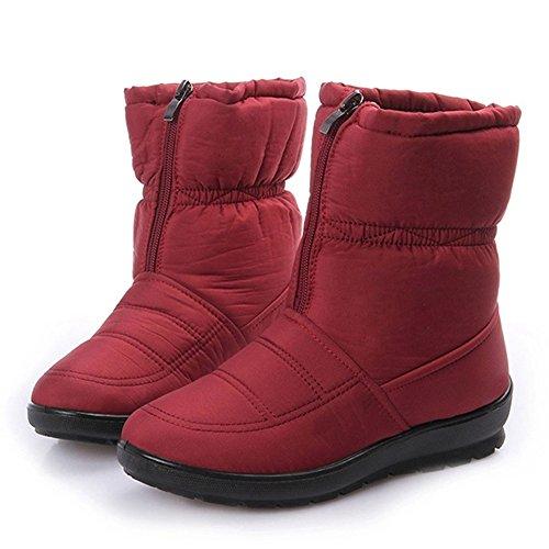 Giy Femmes Mode Mi-mollet De Fourrure Doublure Bottes De Neige Plate-forme Imperméable À Leau Chaude Chausson Dhiver Chaussures Chausson Rouge