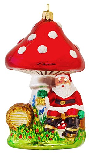 Pinnacle Peak Trading Company Dwarf Santa Claus Sitting Under Mushroom Polish Glass Christmas Tree -