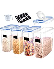 Cereal Container Storage Set of 4 - Airtight Food Storage Containers 4L (135.2oz),Plastic Sealed Grain Container for Rice,Snacks and Sugar - BPA Free Cereal Dispenser - Kitchen Pantry Organization and Storage ,with Labels, Marker Pen and Measuring Cup