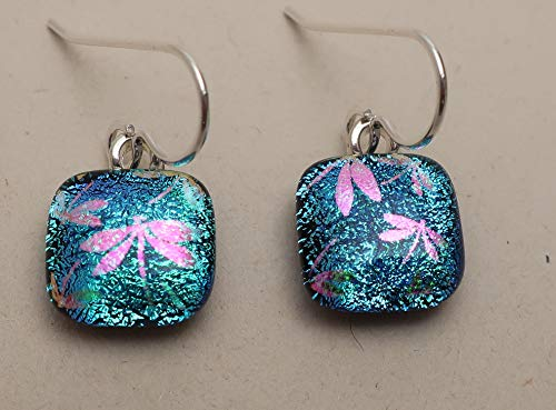 Petite Pink dragonflies aqua fused dichroic glass sterling silver earrings #248
