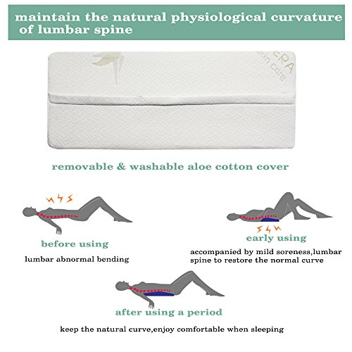 [Upgraded] Lumbar Pillow Bed Back Support Sleeping Pillow, Easylife 185 Soft Memory Foam Sleep Wedges, Multifunctional Lumbar Support Cushion for Lower Back Pain Sleeping on Side, lying, Hip (1.96)