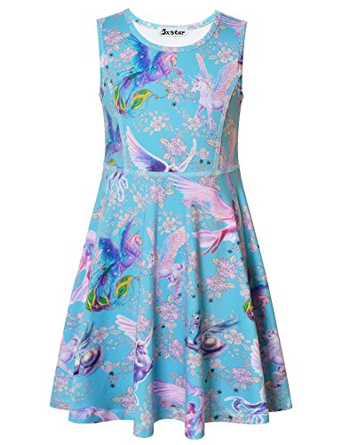 Jxstar Big Girls Flower Dress Unicorn Printed Sleeveless Dress Flower Unicorn -