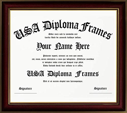 Cherry with Gold Trim Diploma Frame - Made to Display 11x14 inch Documents or Certificates