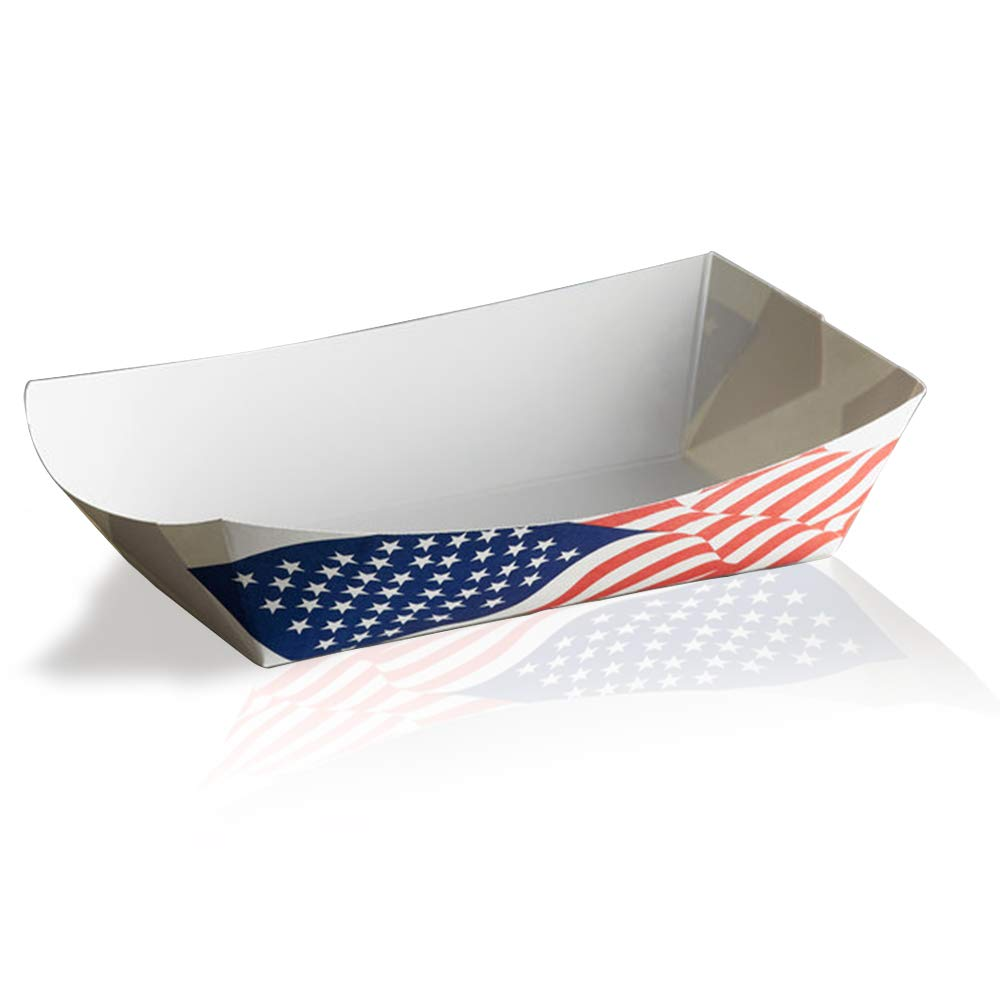 Disposable Paper Food Trays 2Lb-Heavy Duty, Grease Resistant 100 Pack. Durable, Ideal for Festival Holds Treats Like Hot Dogs, Fries, Nachos (USA Flag)