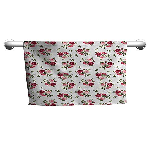 (warmfamily Roses Decorations Collection Water-Absorbing Bath Towel Pattern with Rose Stems Flowers Classic English Garden Style Design Repeat ArtW19 x L19 Red Pink Green)