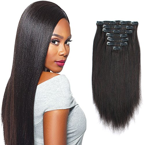 Beauty : Sassina Italian Light Yaki Straight Clip in Extensions 100% Remy Human Hair Double Wefts 8A Grade For Fashion Black Women 120 Grams 7 Pieces With 17 Clips, YS 12 Inch
