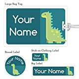 Kids Labels Nursery Package - 74 Labels and 1 Large Tag - Dinosaur Design