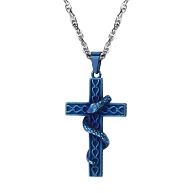 3b543033e60485 PROSTEEL Men Blue Cross Snake Pendant Necklace with 316L Stainless Steel  Chain