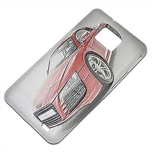 Coches 10122, Carro Rojo, Embossed Caso Carcasa Funda Duro Gel TPU Protección Case Cover, Diseño con Textura en Relieve para Samsung S2 i9100 i9200.