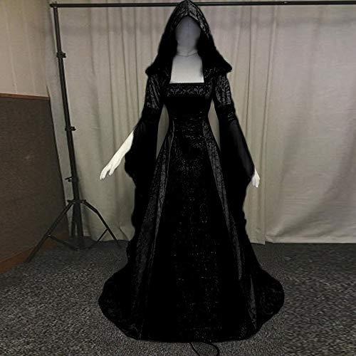 Renacimiento De Tallas Larga Grandes Medieval Suelto Retro Mujeres Largos Disfraz Mujer Señoras Cinnamou Vestido Manga Fiesta Negro Bandage fRaUUq