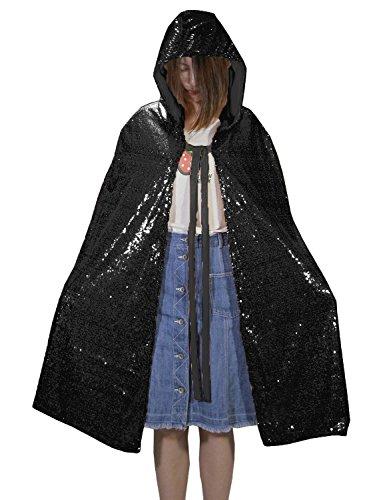 Newdeve Unisex Halloween Hooded Cloak Short Sequin Party Cape (4XL, Black) (Devo Halloween Costume)