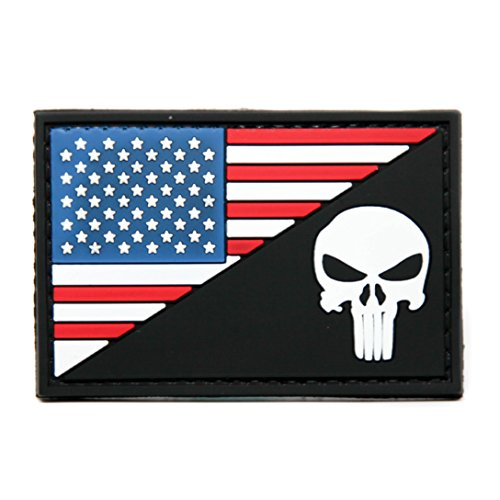 American Flag and Punisher PVC Rubber Morale Patch - USA Flag Punisher Black Eyes - Military and Airsoft Morale Patch Velcro Backed By NEO Tactical Gear