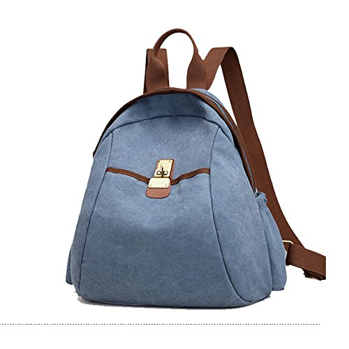 (XRX Women Backpack Sturdy Canvas Travel Bag Casual Outdoors Purse Girl's School Daypack,Blue)