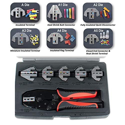 - Interchangeable Ratcheting Terminal Crimper Set - 6 Die Sets Quick Change