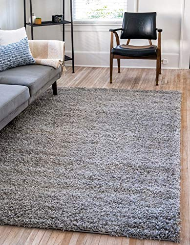 "Unique Loom Solo Solid Shag Collection Modern Plush Cloud Gray Area Rug (2' 2 x 3' 0) - 1.5"" pile height Polypropylene with a cotton backing. Does not shed. - living-room-soft-furnishings, living-room, area-rugs - 517nIF61KAL -"