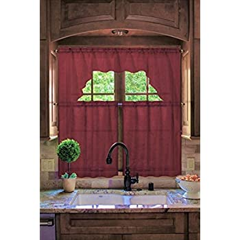 Midwest Kitchen Window Curtain Set 3pc Light Filter In Solid Colors (K66  BURGUNDY)