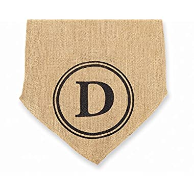 Mud Pie Initial Burlap Table Runner, Monogram C