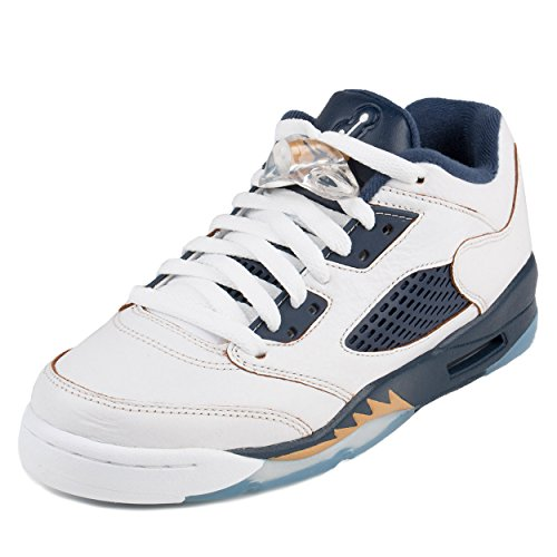 Nike Jordan Kids Air Jordan 5 Retro Low (GS) White/Metallic Gold/Mid Navy Basketball Shoe 6.5 Kids US