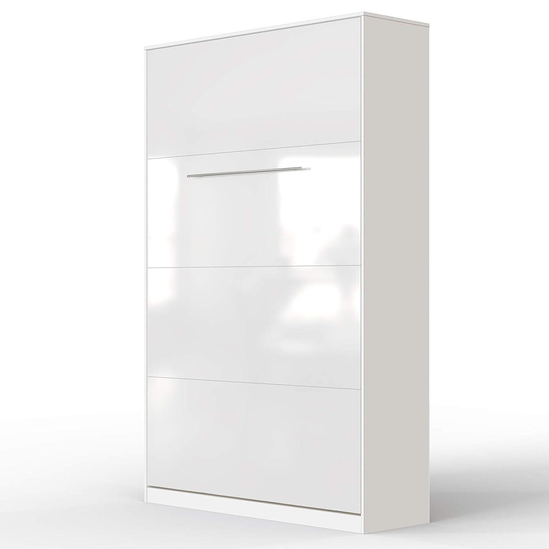 SMARTBett Standard 90x200 Vertikal Weißs Schrankbett   ausklappbares Wandbett, ideal geeignet als Wandklappbett fürs Gästezimmer, Büro, Wohnzimmer, Schlafzimmer Weißs Weißs Hochglanzfront 120 Vertikal
