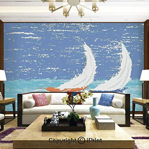 Racing Brochure - Lionpapa_mural Wall Mural Showing All They Beauty Extremely Detailed Image, Grunge Style Illustration of Two Racing Sailboats in A Windy Ocean Water Print,Home Decor - 100x144 inches