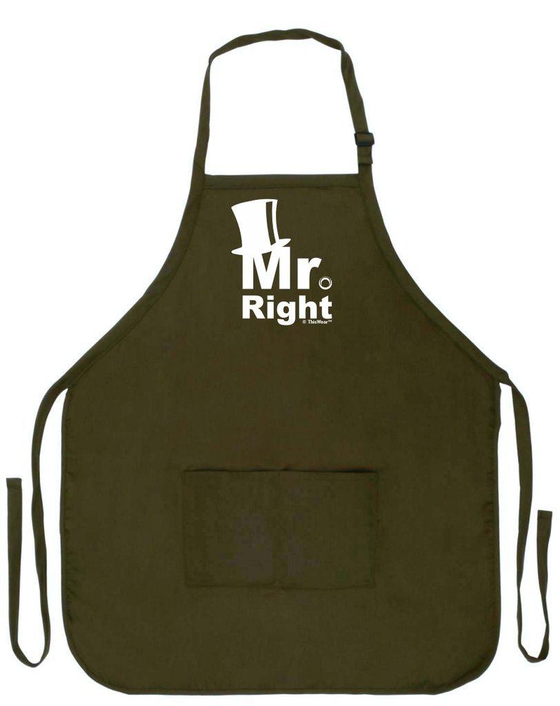 Mr Rightウェディングギフト面白いエプロンキッチンBBQバーベキュー料理2つポケットエプロン夫の  Military Olive Green B016YHZ0XO