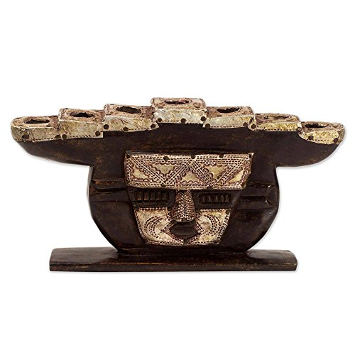 NOVICA Decorative Wood Candle Holder, Brown 'Stoic Face' ()