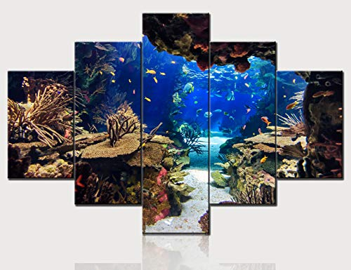 Canvas Painting Plants ,Coraln and Tropical Colorful Fish Wall Art Contemporary Pictures House Decor Multi Panel Prints Artwork Hang in Living Room Wooden Framed Posters and Prints(60''W x 40''H)