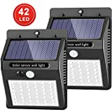 [Upgraded 42 LED] SEZAC Solar Lights Outdoor Solar Motion Sensor Lights with 120°Wide-Angle Detection, Waterproof Wireless Bright Solar Security Lights for Garage Yard Patio Garden Pathway (2 Pack)
