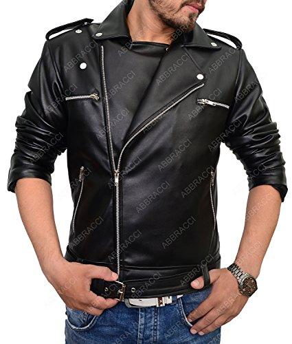 Abbraci Leather Jacket Men (Black, X-Large)