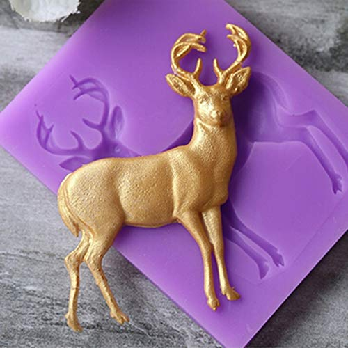 Laz-Tipa - DIY Deer Pattern Silicone Molds Christmas Deer Sugar Fondant Cake Soap Mold Gumpaste Chocolate Kitchen Baking Tools IC975422