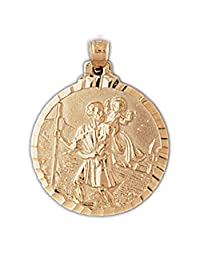 14K Yellow Gold Saint Christopher Pendant Necklace - 28 mm