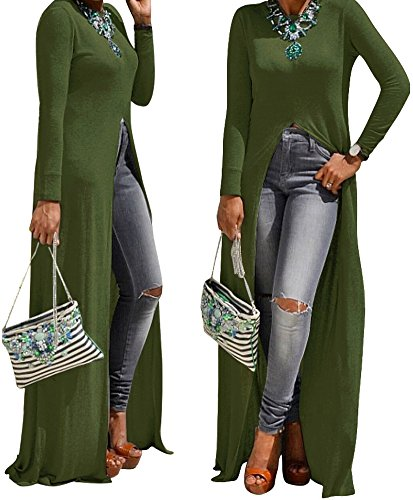 Women Round Neck Long Sleeve Sexy Open Front Slit Maxi Dress Solid Tunic Tops,Green,10
