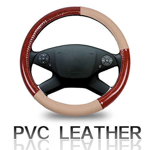 Cover 15 Inch Universal Leather Car Steering Wheel Cover - Beige and Brown Wood Grain ()
