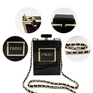 LUI SUI Women Acrylic Black Paris Perfume Design Evening Bags Banquet Chain Shoulder bag