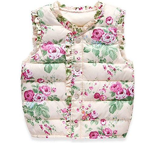 Sunny Baby Girl Winter Warm Vest Outwear Coat Kids Light Weight Padded Waistcoat (140, Cream-Flower) (Cream Spring Coat)