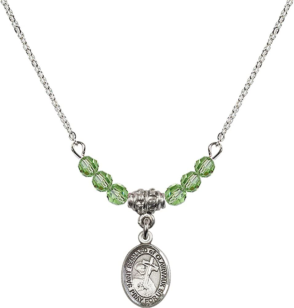 18-Inch Rhodium Plated Necklace with 4mm Peridot Birthstone Beads and Sterling Silver Saint Bernard of Clairvaux Charm.