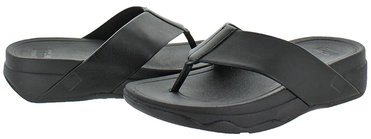 b08b932e0466f Fitflop Women s Surfa Leather Slip-on Sandals Shoes Black Size 4   Amazon.co.uk  Shoes   Bags