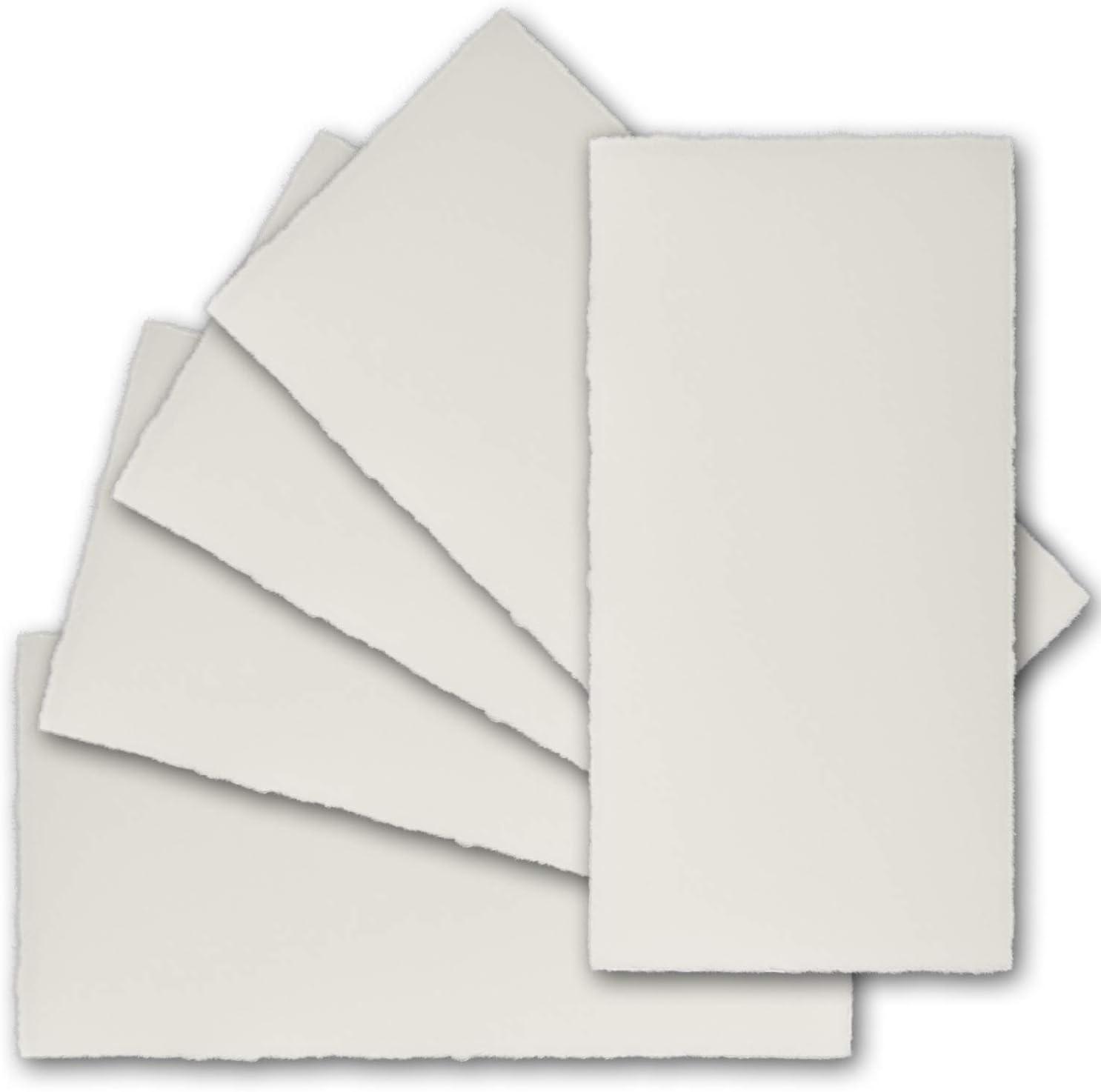 100 x 210 mm Natur-Wei/ß 10x DIN Lang Vintage Einzelkarten-Set mit Brief-Umschl/ägen Original Zerkall-B/ütten ohne Falz echtes B/ütten-Papier
