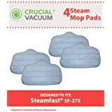4 SteamFast Mop Pads Fit SteamFast SteamMax SF275 and SF370 Steam Mops; Compare to SteamFast Part No. A275-020; Designed & Engineered by Crucial Vacuum