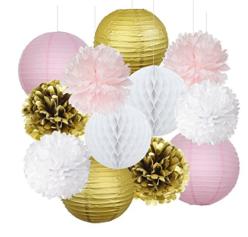 Best Prices! Furuix 12pcs Pink Gold Party Decoration Kit Tissue Paper Pom Pom Honeycomb Ball and Pap...