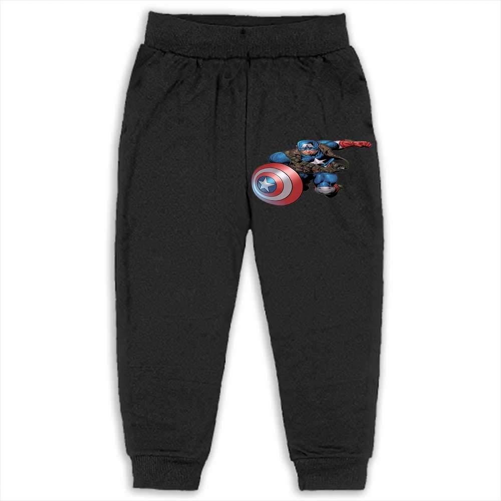 Black Trousers Boys' Active Cotton Joggers Pants Captain America 2T_Black
