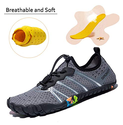 e3b860931b4 ... LINGTOM Mens Womens Aqua Water Shoes Quick Dry Barefoot Sports Exercise  for Walking Swimming Diving Beach ...