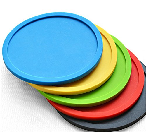 Hosaire Silicone Drink Coasters Great Grip, Easy To Clean, Protects Your Furniture - Spill Tray To Catch Condensation - For Coffee Cup, Wine Glass, Beer Bottle And All Other Beverages Blue 4 inch by Hosaire (Image #4)