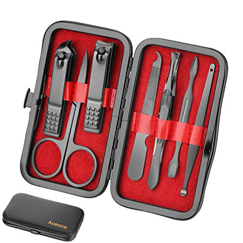 Manicure Set Men Travel Luxury Manicure 8 In 1 Stainless Steel Professional Pedicure Set Travel Grooming kit Gift for Men Husband Boyfriend Lover Parents Women Elder Patient Nail Care (Travel Mens Grooming)